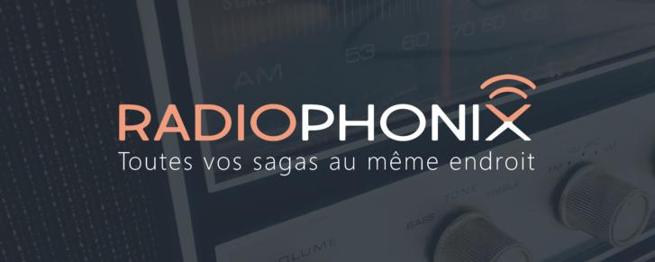 Logo et slogan superposé à une photo de radio rétro